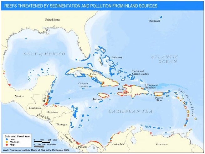 Caribbean coral reefs are threatened by sedimentation